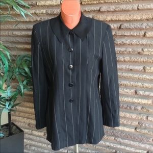 Ann Taylor Black White Pinstriped Tunic Shirt